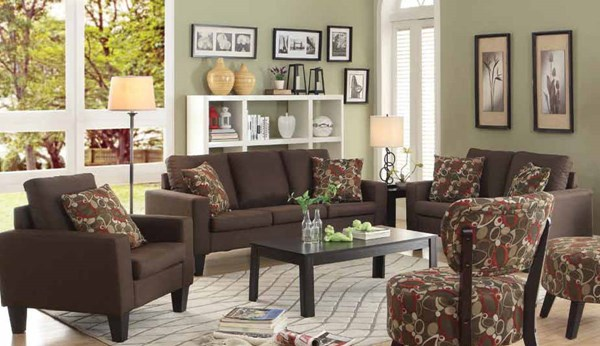 Bachman Casual Chocolate Fabric Wood 3pc Living Room Set CST-504767-LR-S