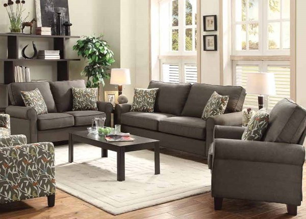 Noella Casual Grey Chocolate Fabric Wood 3pc Living Room Sets CST-504781-91-LR-S-VAR