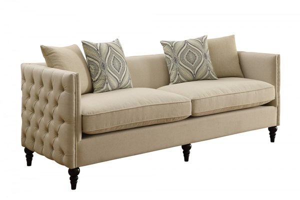 Claxton Oatmeal Fabric Track Arms & Tufted Back Sofa CST-504891