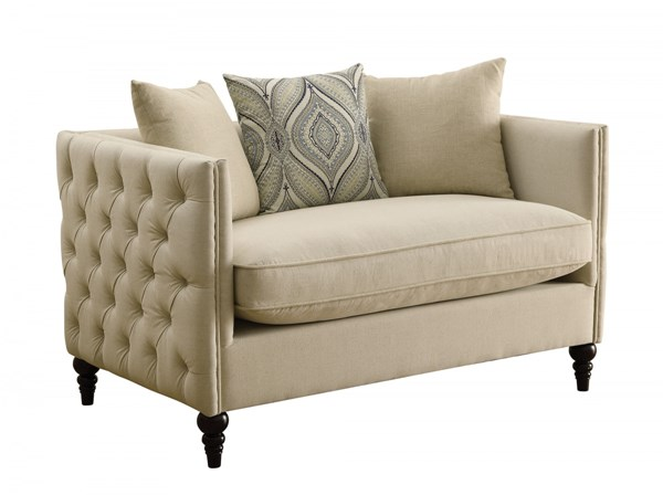 Claxton Oatmeal Fabric Tufted Back & Seat Loveseat CST-504892