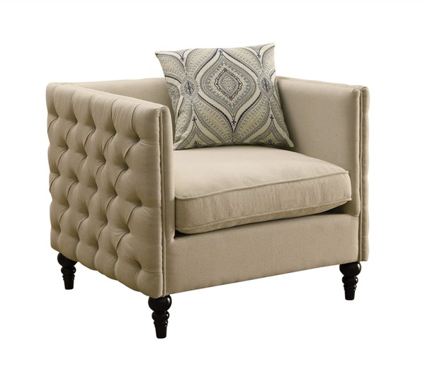 Claxton Oatmeal Fabric Tufted Back Chair CST-504893