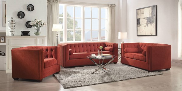 Cairns Crimson Microvelvet High Shelter Arms Tufted Living Room Set CST-50490-LR
