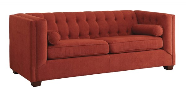 Cairns Crimson Microvelvet High Shelter Arms Tufted Back Sofa CST-504907