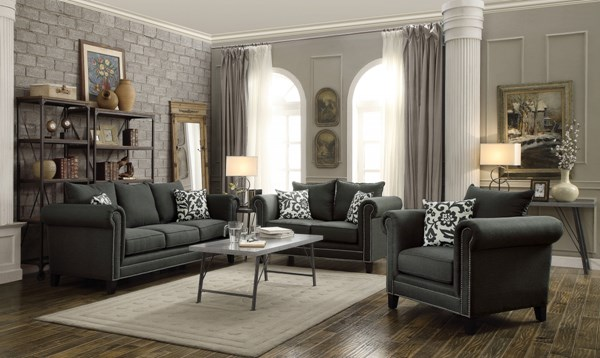 Emerson Charcoal Linen Like Living Room Set CST-50491-LR