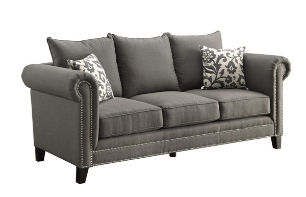 Emerson Charcoal Fabric Cushion Back & Round Arms Sofa CST-504911