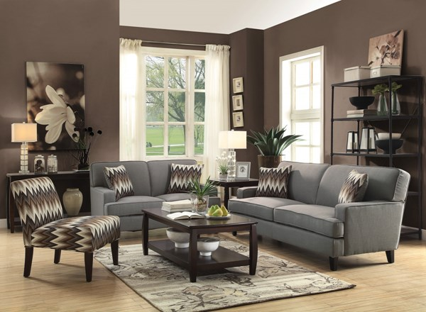 Finley Gery Brown Fabric Wood 3pc Living Room Set CST-505031-32-64