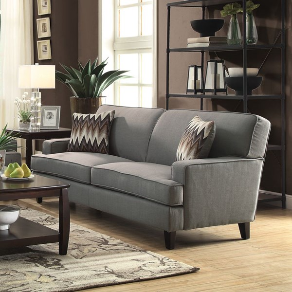 Finley Transitional Grey Fabric Pillow Back Sofa CST-505031