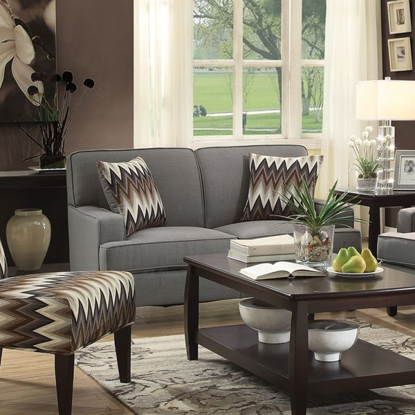 Finley Transitional Grey Fabric Pillow Back Loveseat CST-505032