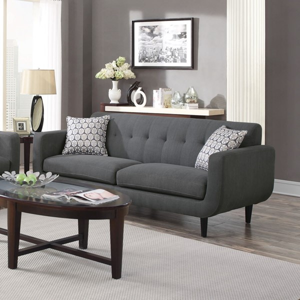 Stansall Modern Grey Ivory Fabric Tufted Back Sofas CST-505201-04-VER