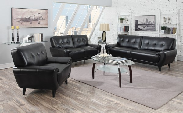 Leskow Modern Black Leatherette 3pc Living Room Set CST-505211-12-13