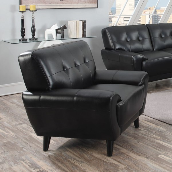 Leskow Modern Black Faux Leather Tufted Back Chair CST-505213