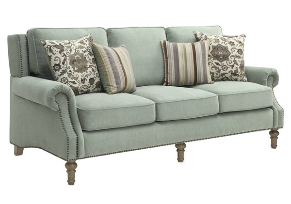 Rosenberg Sage Microvelvet Wood Encased Frame Removable Seat Sofa CST-505221