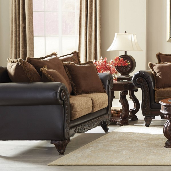 Garroway Traditional Chocolate Chenille Pocket Coil Seating Loveseat CST-505232
