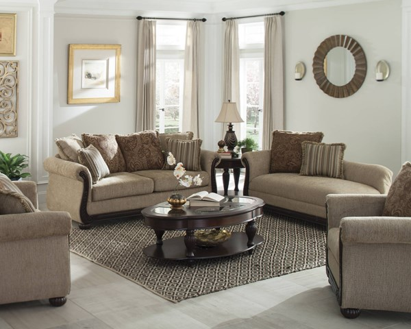 Beasley Brown Chenille Memory Foam Seat Cushions 3pc Living Room Set CST-50524-LR-S1
