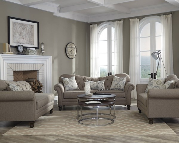 Carnahan Traditional Stone Grey Fabric Camel Back 3pc Living Room Set CST-50525-LR-S1