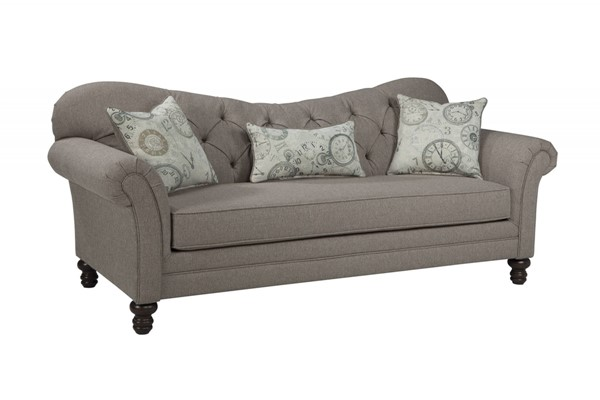 Carnahan Traditional Stone Grey Fabric Tufted Reverse Camel Back Sofa CST-505251