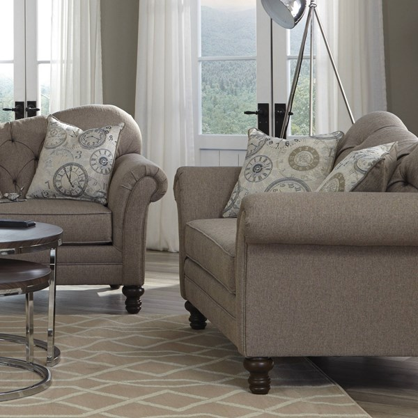 Carnahan Stone Grey Fabric Tufted Reverse Camel Back Loveseat CST-505252