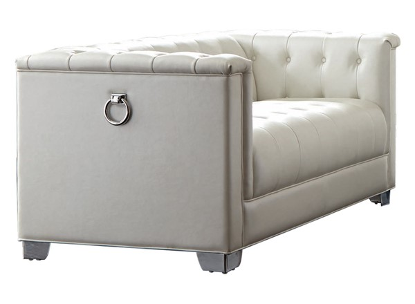 Coaster Furniture Chaviano White Tufted Loveseat CST-505392