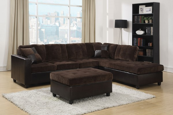 Mallory Casual Velvet And Leather Sectional CST-505645