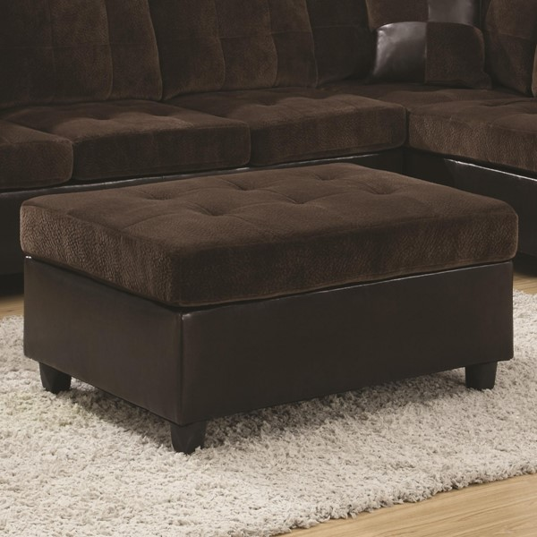 Mallory Casual Chocolate Cream Wood Leather Like Vinyl Ottoman CST-505646