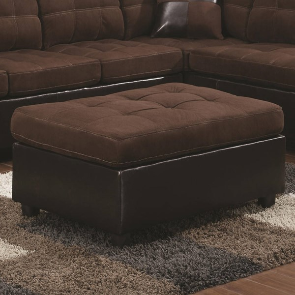 Mallory Casual Velvet And Leather Ottoman CST-505656