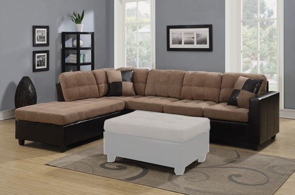 Coaster Furniture Mallory Tan Dark Brown Sectional CST-505675