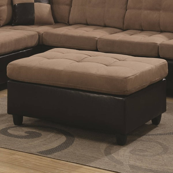 Mallory Casual Chocolate Tan Wood Leather Like Vinyl Ottoman CST-505676