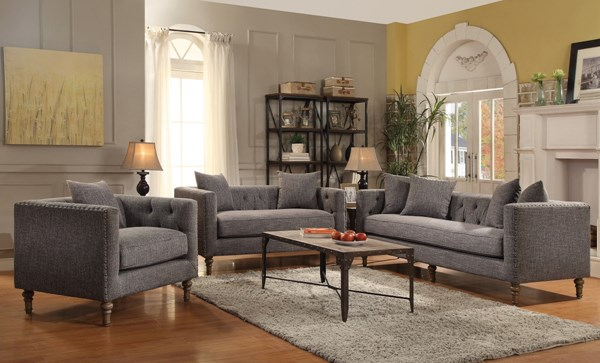 Ellery Grey Fabric Tufted Seat 3pc Living Room Set CST-505771-72-73