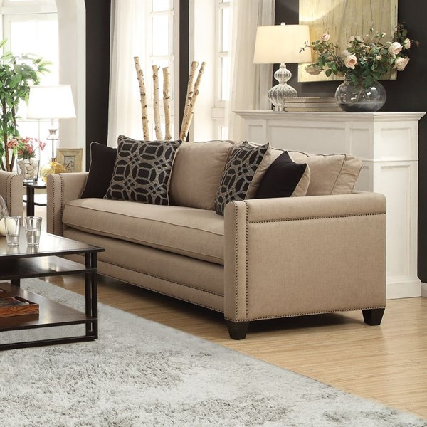 Pratten Wheat Fabric Sofa w/Solid Wood Legs CST-505781