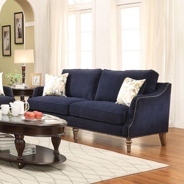 Vessot Ink Blue Fabric Sofa w/Accent Pillows CST-505791
