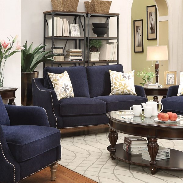 Vessot Ink Blue Fabric Loveseat w/Accent Pillows CST-505792