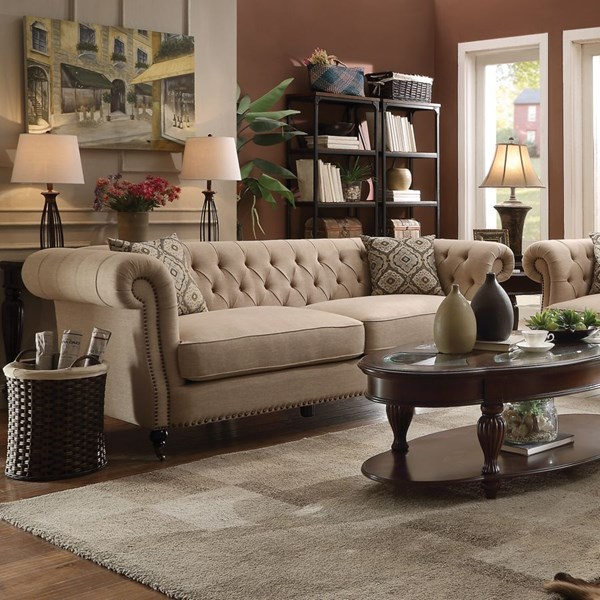 Trivellato Oatmeal Linen Sofa w/2 Pillows CST-505821
