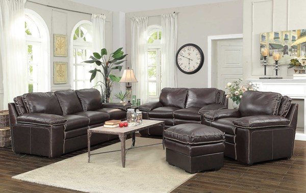 Regalvale Brown Leather Match 4pc Living Room Set CST-505845-46-47-48