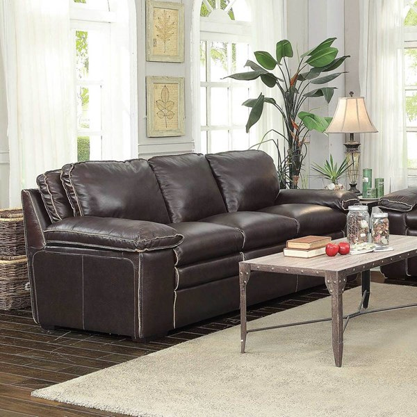 Regalvale Brown Faux Leather Pillow Top Arms & Cushion Back Sofa CST-505845