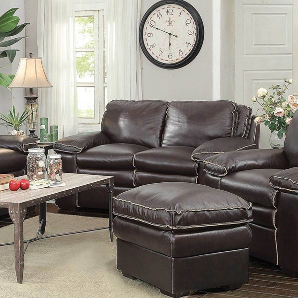 Regalvale Brown Faux Leather Pillow Top Arms & Cushion Back Loveseat CST-505846