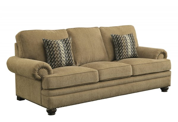 Colton Wheat Chenille Removable Back Cushion Sofa w/2 Pillows CST-505851