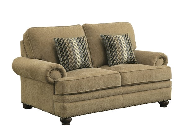 Colton Wheat Chenille Removable Back Cushion Loveseat w/2 Pillows CST-505852