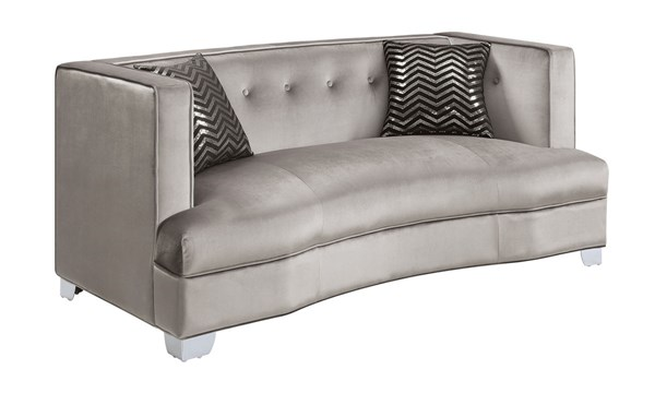 Caldwell Silver Velvet Wood Loveseat w/Accent Pillows CST-505882