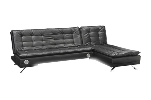 Erickson Black Leatherette Tufted Seat & Back Sofa Bed w/Chaise CST-50806-LR-S1