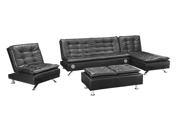 Erickson Black Leatherette Tufted Seat & Back 4pc Living Room Set CST-50806-LR-S2