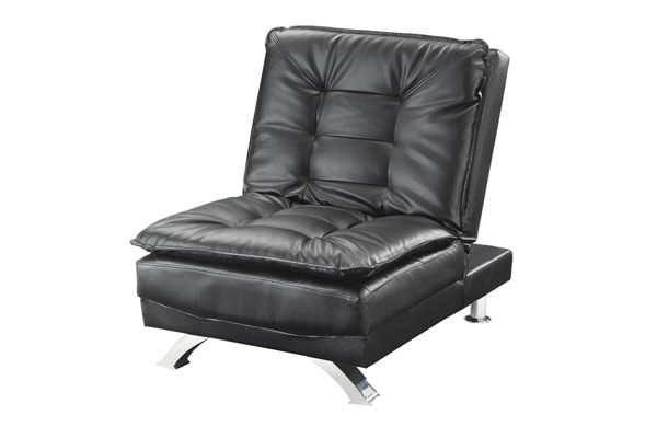 Erickson Black Leatherette Pillow Top Tufted Back Chair/Chair Bed CST-508063