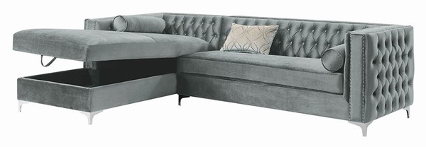 Coaster Furniture Bellaire Silver Velvet Sectional CST-508280