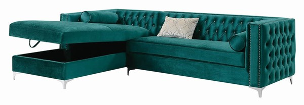 Coaster Furniture Bellaire Teal Velvet Sectional CST-508380