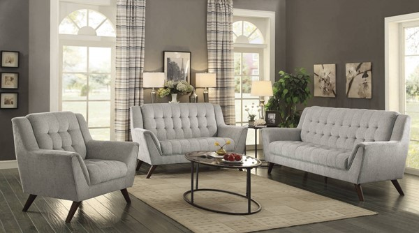 Baby Natalia Modern Dove Grey Chenille Tufted 3pc Living Room Set CST-51103-LR-S1