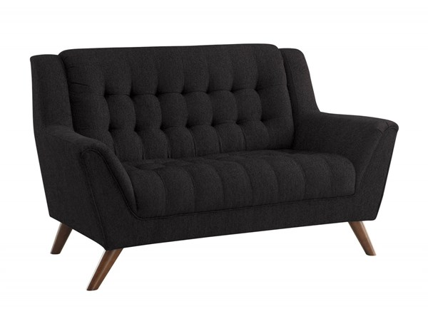 Baby Natalia Modern Black Chenille Pocket Coil Seat Tufted Loveseat CST-511035