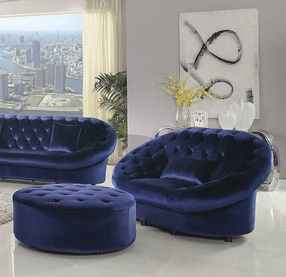 Romanus Traditional Royal Blue Velvet Tufted Chair U0026 Ottoman Set