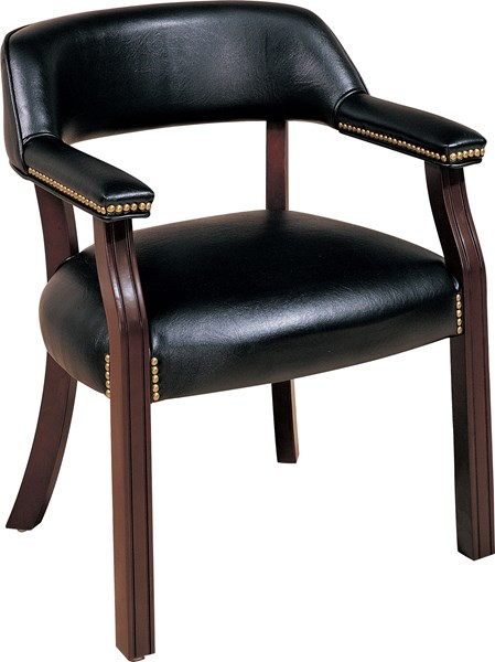 Cappuccino Black Wood Leatherette Office Guest Chair CST-511K
