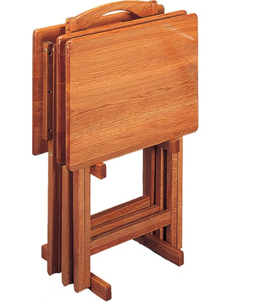 Golden Brown Wood Folding Tray Table CST-5199