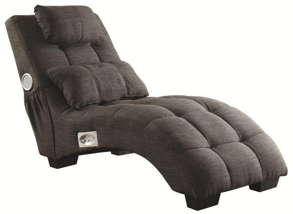 Charcoal Fabric Chaise w/Accent Pillow & Removable Headrest CST-550016