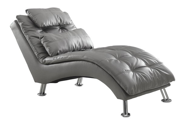 Grey Faux Leather Armless & Pillow Back Chaise CST-550029